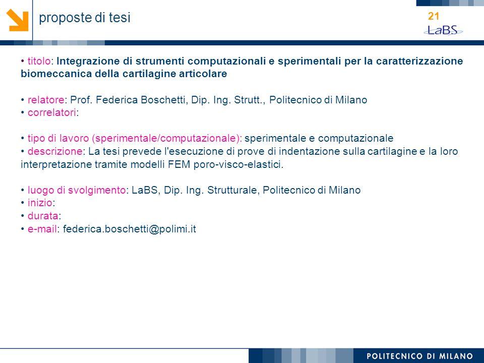 21 titolo: Integrazione di strumenti computazionali e sperimentali per la caratterizzazione biomeccanica della cartilagine articolare relatore: Prof.