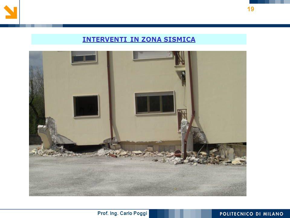 Prof. Ing. Carlo Poggi 19 INTERVENTI IN ZONA SISMICA
