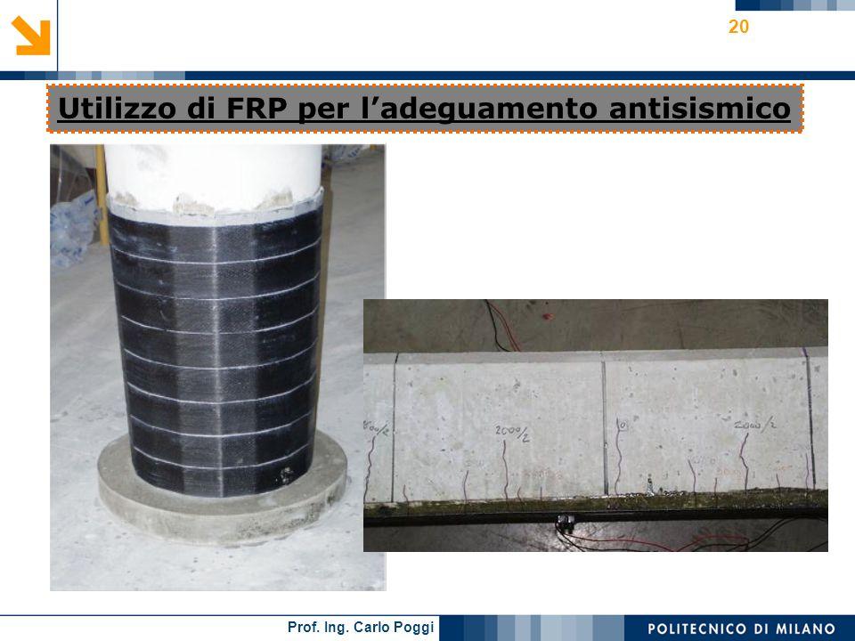 Prof. Ing. Carlo Poggi 20 Utilizzo di FRP per ladeguamento antisismico