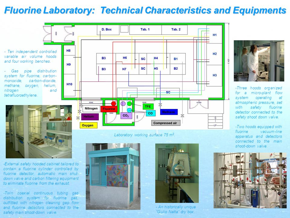 Fluorine Laboratory: Technical Characteristics and Equipments - Ten independent controlled variable air volume hoods and four working benches.