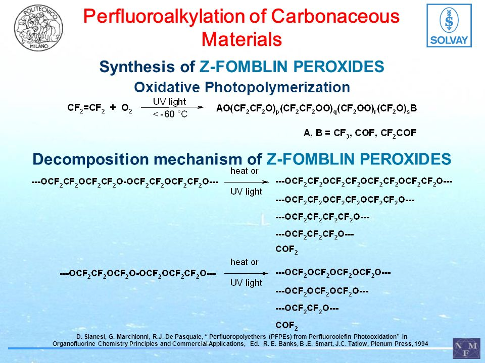 Perfluoroalkylation of Polymeric Substrates Peroxide Surface Energy (mN/m) PSPET -3032 Perfluorodipropionyl Peroxide 1817 Perfluorodi-iso-butyryl Peroxide 2117 Perfluorodi-n-butyryl Peroxide 2031 Contact Angle XPS