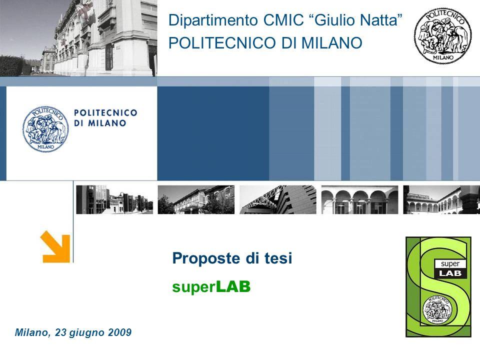 Proposte di tesi super LAB Dipartimento CMIC Giulio Natta POLITECNICO DI MILANO Milano, 23 giugno 2009