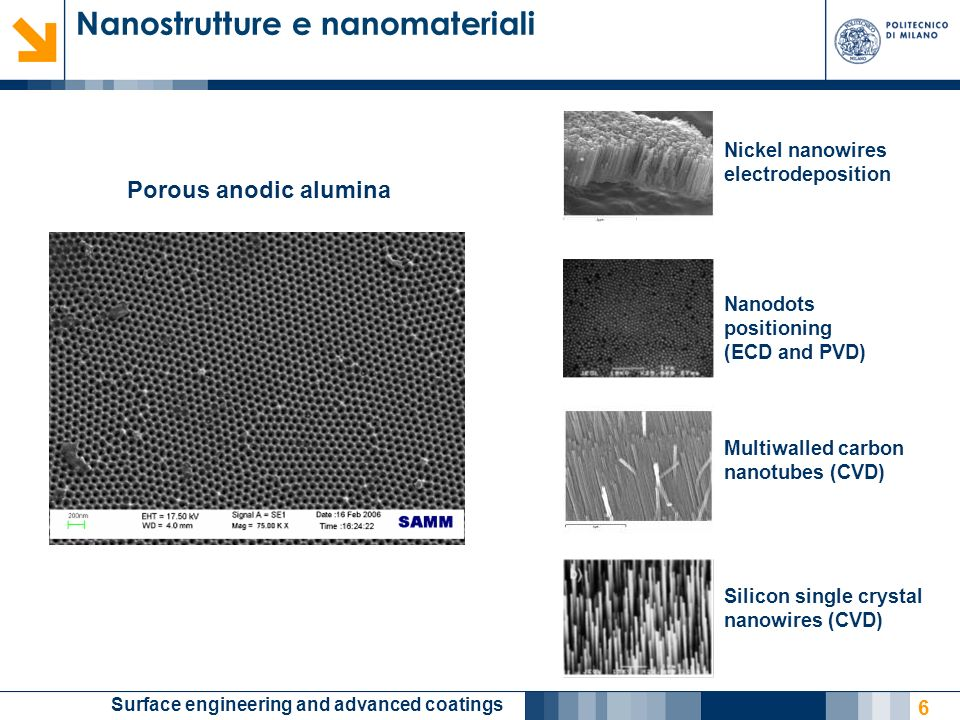 Surface engineering and advanced coatings 7 Porous anodic titania Specific functional properties: Bio- and gas sensing Controlled wettability, self-cleaning Photoelectrochemical conversion Support for electrocatalysis Photoinduced reactivity (pollutant treatment, Patent Appl.) Nanostrutture e nanomateriali