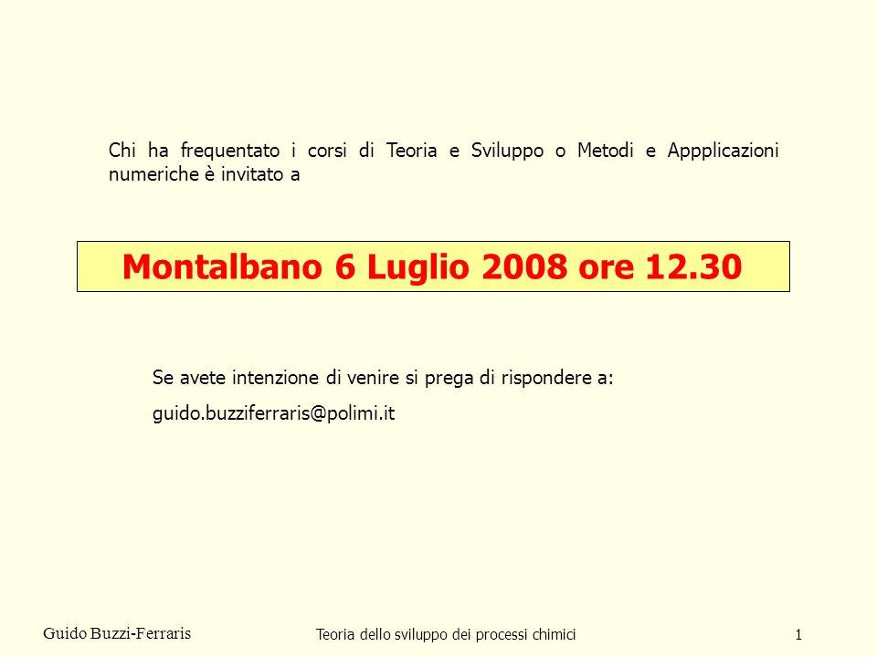 Teoria dello sviluppo dei processi chimici1 Guido Buzzi-Ferraris Montalbano 6 Luglio 2008 ore 12.30 Chi ha frequentato i corsi di Teoria e Sviluppo o