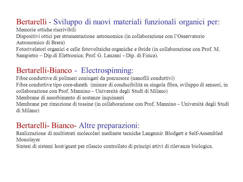 Bertarelli - Sviluppo di nuovi materiali funzionali organici per: Memorie ottiche riscrivibili Dispositivi ottici per strumentazione astronomica (in c
