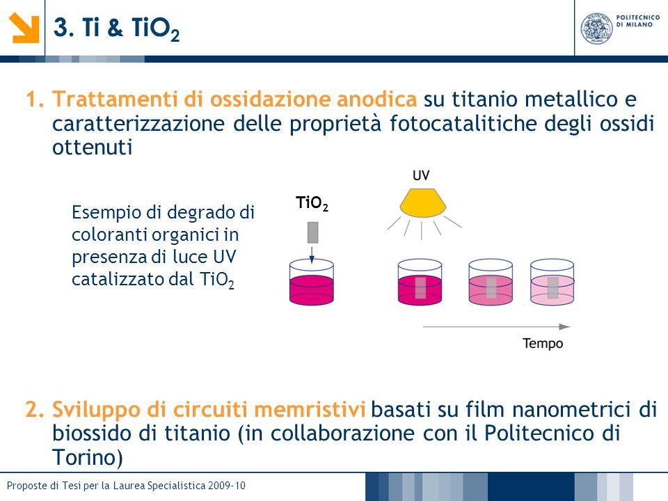 Proposte di Tesi per la Laurea Specialistica 2009-10 1.Trattamenti di ossidazione anodica su titanio metallico e caratterizzazione delle proprietà fot