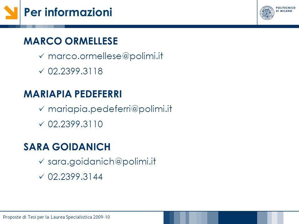 Proposte di Tesi per la Laurea Specialistica 2009-10 Per informazioni MARCO ORMELLESE marco.ormellese@polimi.it 02.2399.3118 MARIAPIA PEDEFERRI mariap