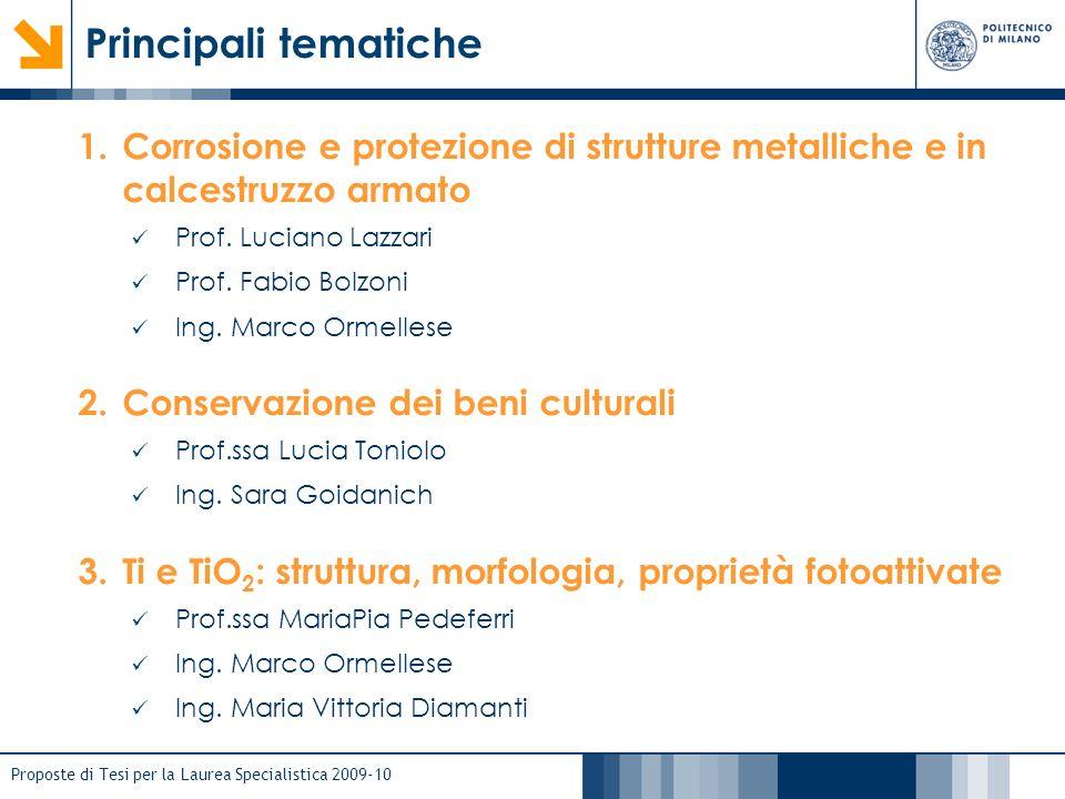 Proposte di Tesi per la Laurea Specialistica 2009-10 Principali tematiche 1.Corrosione e protezione di strutture metalliche e in calcestruzzo armato P