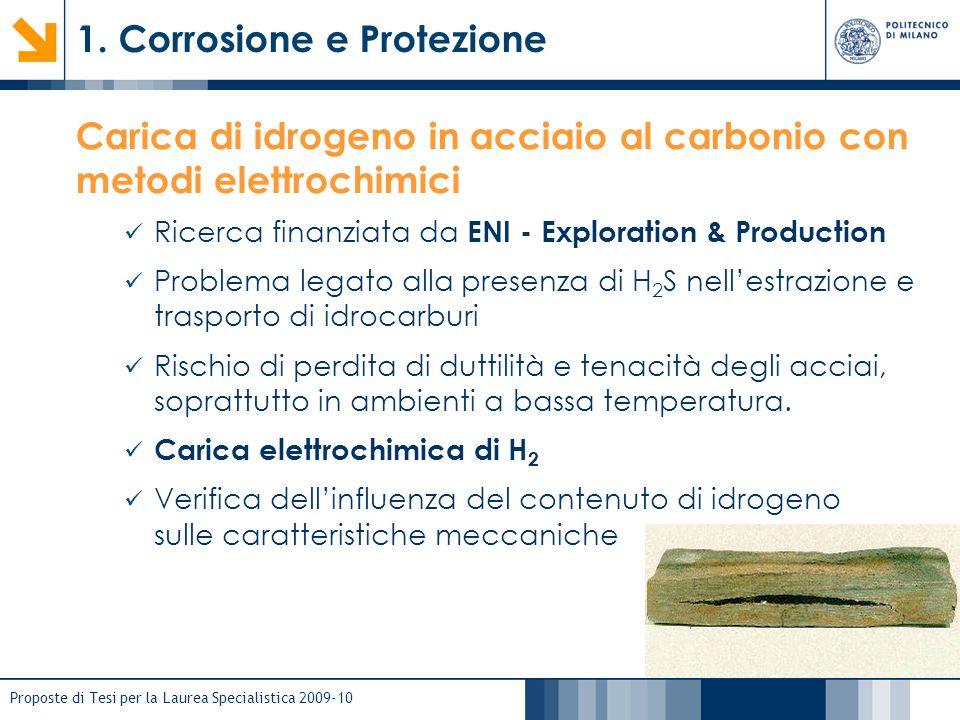 Proposte di Tesi per la Laurea Specialistica 2009-10 1. Corrosione e Protezione Carica di idrogeno in acciaio al carbonio con metodi elettrochimici Ri