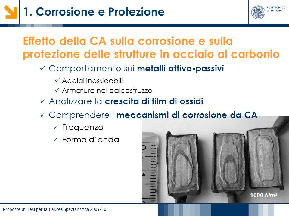 Proposte di Tesi per la Laurea Specialistica 2009-10 1. Corrosione e Protezione 1000 A/m 2 Effetto della CA sulla corrosione e sulla protezione delle