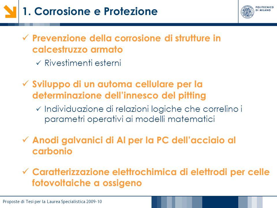 Proposte di Tesi per la Laurea Specialistica 2009-10 1. Corrosione e Protezione Prevenzione della corrosione di strutture in calcestruzzo armato Rives