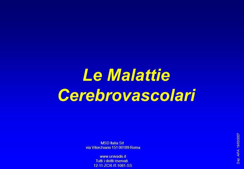 Meccanismi di Ictus Atero-trombotico/embolico Cardio- embolico Malattia dei piccoli vasi Ipertensivo Angiopatia Amiloide Altro Aneurisma Correlato a MAV* Altro Ischemico 84% Emorragico 16% Intracerebrale 10% Subaracnoide 6% Stroke: Clinical Updates 1991;I(5):17 National Stroke Association as adapted from the Harvard Stroke Registry, Neurology 1978;28:754-762 *MAV = malformazione aterovenosa