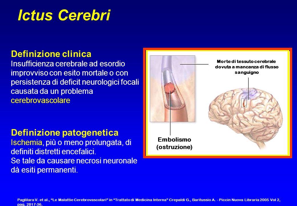 Definizione clinica Insufficienza cerebrale ad esordio improvviso con esito mortale o con persistenza di deficit neurologici focali causata da un prob