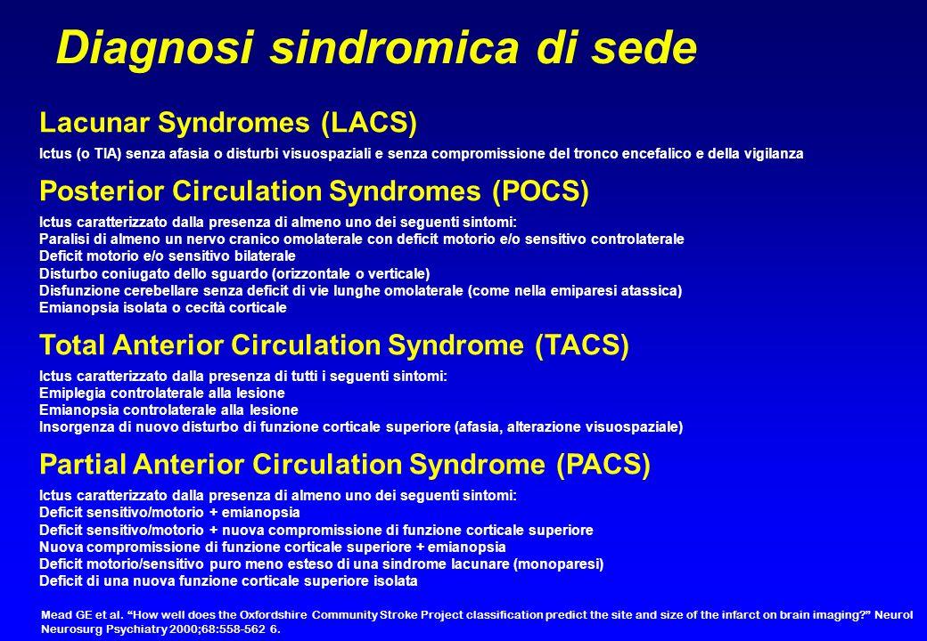 Diagnosi sindromica di sede Lacunar Syndromes (LACS) Ictus (o TIA) senza afasia o disturbi visuospaziali e senza compromissione del tronco encefalico