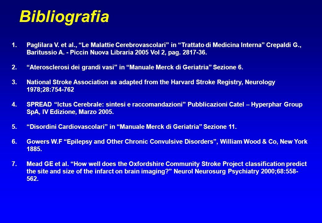 Bibliografia 1.Paglilara V. et al., Le Malattie Cerebrovascolari in Trattato di Medicina Interna Crepaldi G., Baritussio A. - Piccin Nuova Libraria 20