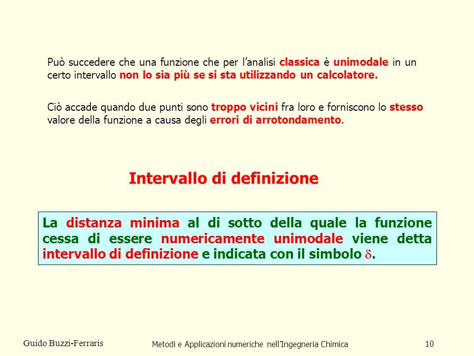 Metodi e Applicazioni numeriche nellIngegneria Chimica 10 Guido Buzzi-Ferraris Può succedere che una funzione che per lanalisi classica è unimodale in un certo intervallo non lo sia più se si sta utilizzando un calcolatore.