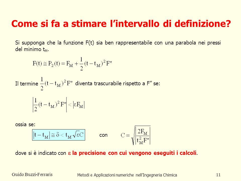 Metodi e Applicazioni numeriche nellIngegneria Chimica 11 Guido Buzzi-Ferraris Come si fa a stimare lintervallo di definizione.