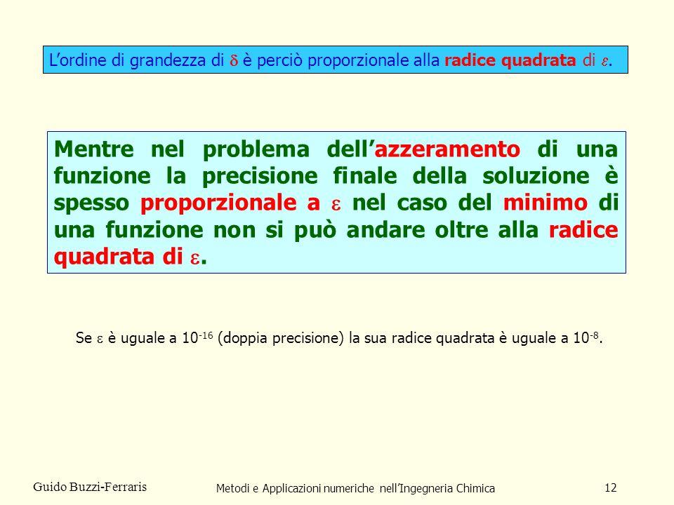 Metodi e Applicazioni numeriche nellIngegneria Chimica 12 Guido Buzzi-Ferraris Lordine di grandezza di è perciò proporzionale alla radice quadrata di.