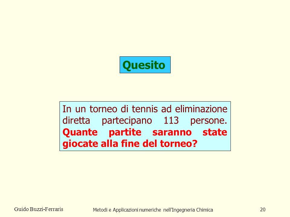Metodi e Applicazioni numeriche nellIngegneria Chimica 20 Guido Buzzi-Ferraris Quesito In un torneo di tennis ad eliminazione diretta partecipano 113 persone.
