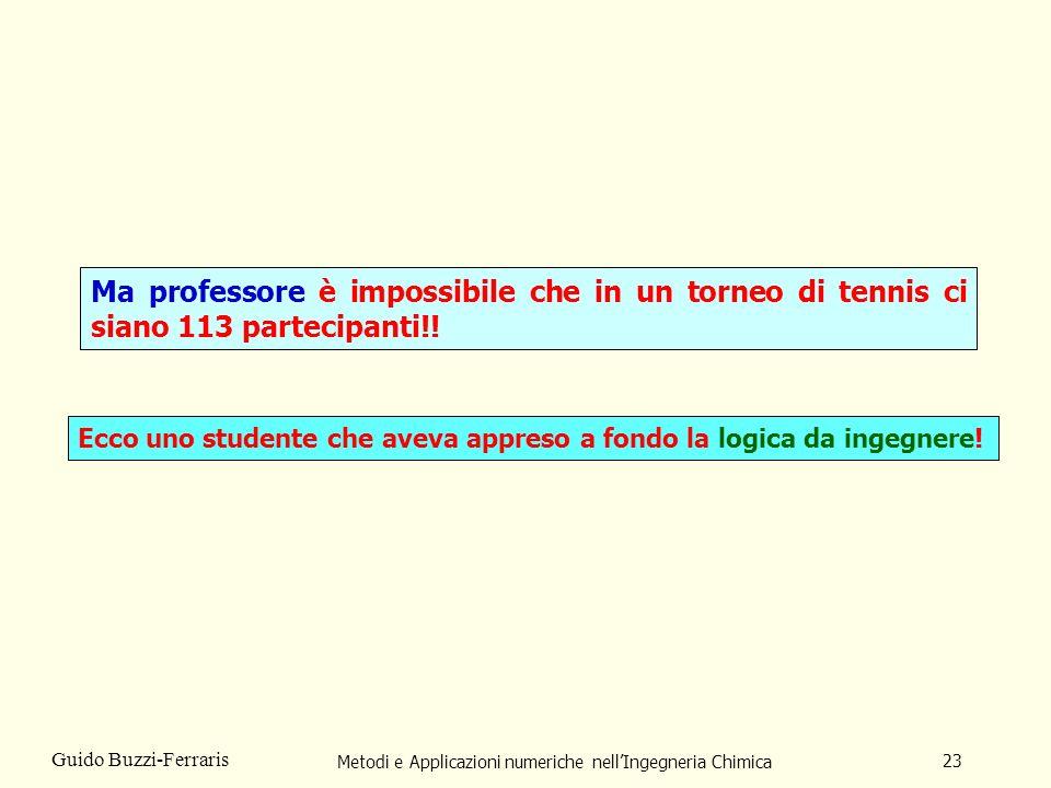 Metodi e Applicazioni numeriche nellIngegneria Chimica 23 Guido Buzzi-Ferraris Ma professore è impossibile che in un torneo di tennis ci siano 113 partecipanti!.