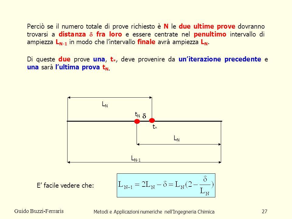 Metodi e Applicazioni numeriche nellIngegneria Chimica 27 Guido Buzzi-Ferraris Perciò se il numero totale di prove richiesto è N le due ultime prove dovranno trovarsi a distanza fra loro e essere centrate nel penultimo intervallo di ampiezza L N-1 in modo che lintervallo finale avrà ampiezza L N.