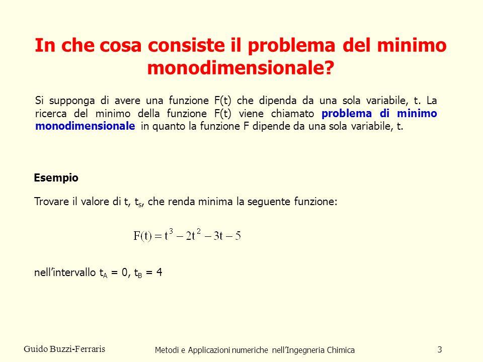 Metodi e Applicazioni numeriche nellIngegneria Chimica 3 Guido Buzzi-Ferraris In che cosa consiste il problema del minimo monodimensionale.