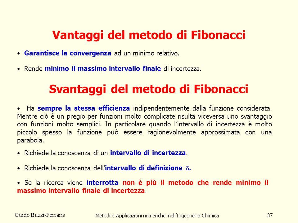 Metodi e Applicazioni numeriche nellIngegneria Chimica 37 Guido Buzzi-Ferraris Vantaggi del metodo di Fibonacci Svantaggi del metodo di Fibonacci Ha sempre la stessa efficienza indipendentemente dalla funzione considerata.