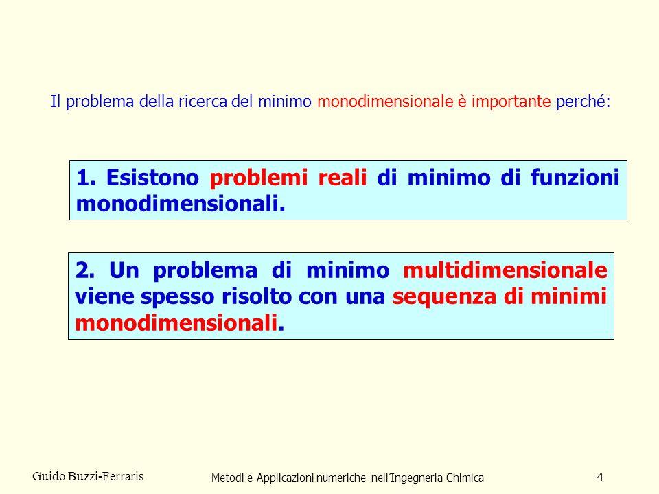 Metodi e Applicazioni numeriche nellIngegneria Chimica 4 Guido Buzzi-Ferraris Il problema della ricerca del minimo monodimensionale è importante perché: 1.