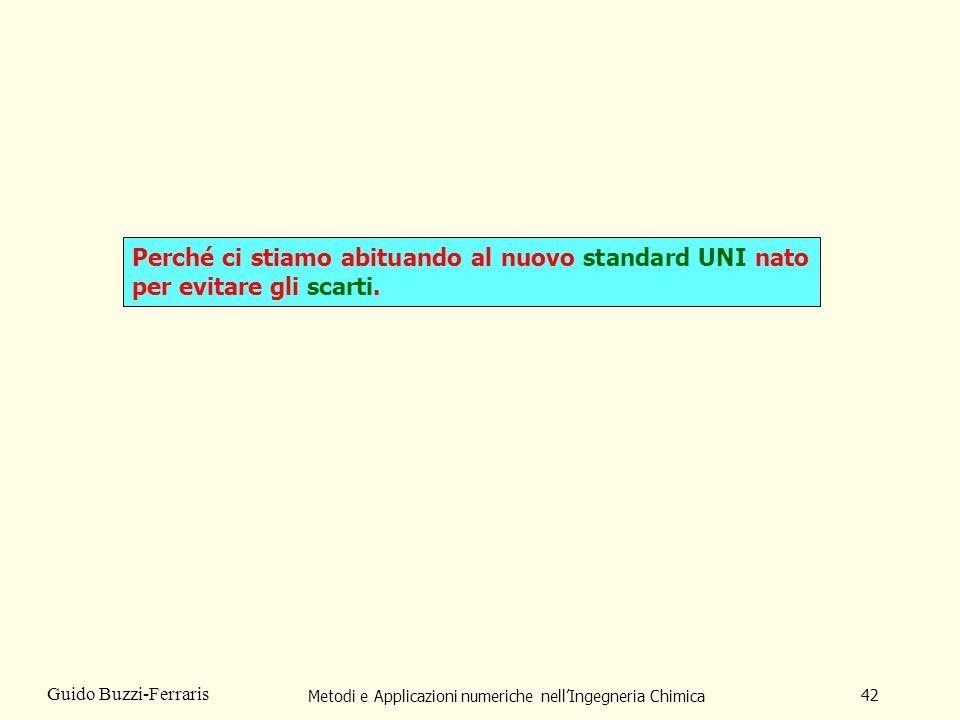 Metodi e Applicazioni numeriche nellIngegneria Chimica 42 Guido Buzzi-Ferraris Perché ci stiamo abituando al nuovo standard UNI nato per evitare gli scarti.