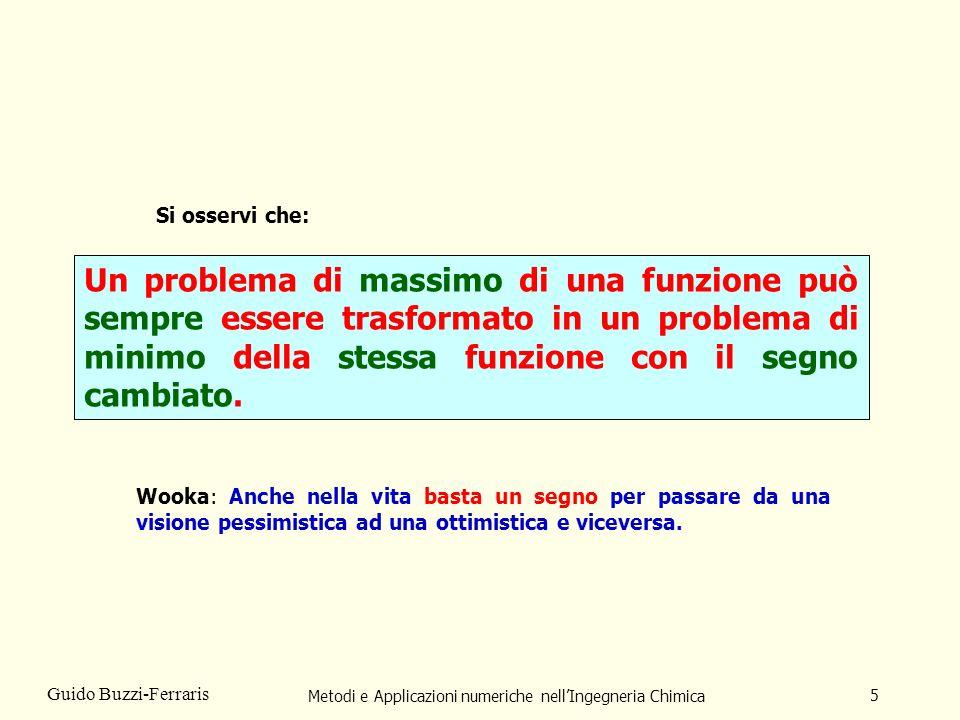 Metodi e Applicazioni numeriche nellIngegneria Chimica 5 Guido Buzzi-Ferraris Un problema di massimo di una funzione può sempre essere trasformato in un problema di minimo della stessa funzione con il segno cambiato.