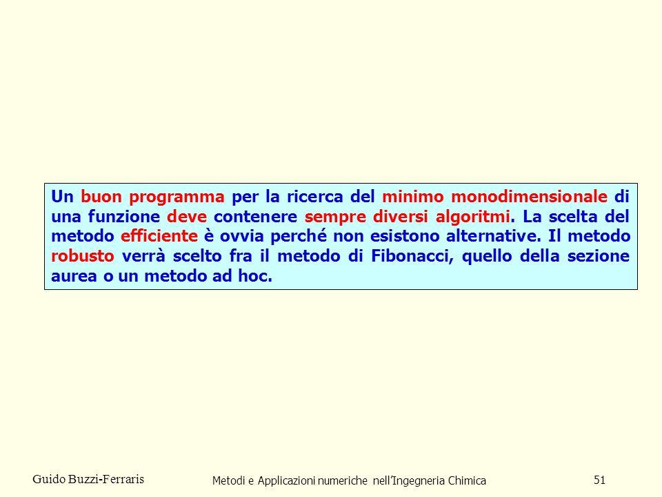 Metodi e Applicazioni numeriche nellIngegneria Chimica 51 Guido Buzzi-Ferraris Un buon programma per la ricerca del minimo monodimensionale di una funzione deve contenere sempre diversi algoritmi.