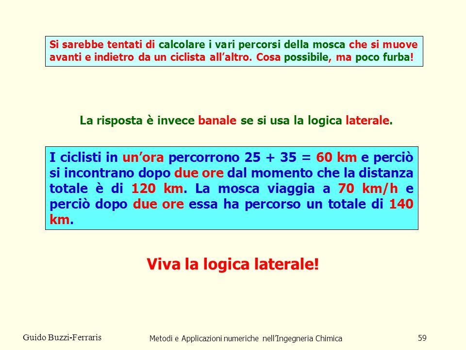 Metodi e Applicazioni numeriche nellIngegneria Chimica 59 Guido Buzzi-Ferraris La risposta è invece banale se si usa la logica laterale.