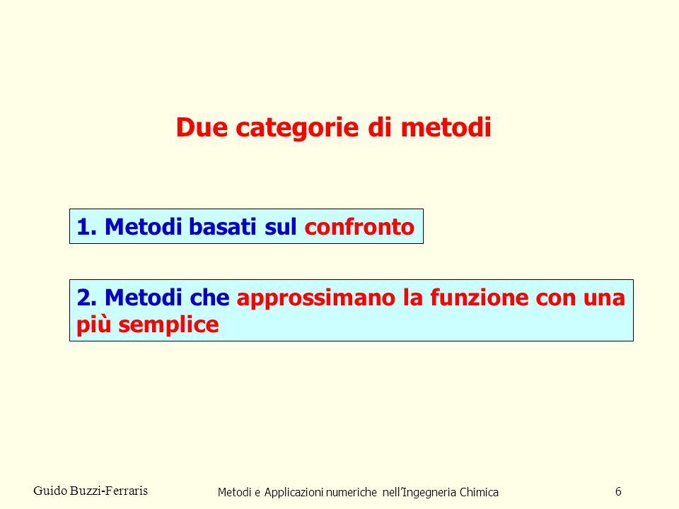 Metodi e Applicazioni numeriche nellIngegneria Chimica 6 Guido Buzzi-Ferraris Due categorie di metodi 1.