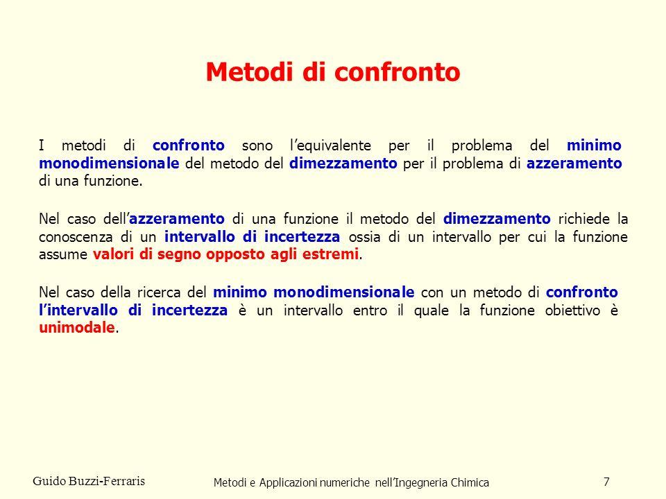 Metodi e Applicazioni numeriche nellIngegneria Chimica 7 Guido Buzzi-Ferraris Metodi di confronto I metodi di confronto sono lequivalente per il problema del minimo monodimensionale del metodo del dimezzamento per il problema di azzeramento di una funzione.