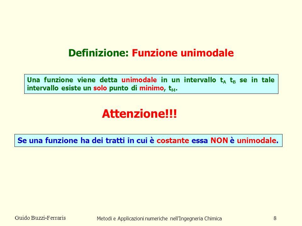 Metodi e Applicazioni numeriche nellIngegneria Chimica 8 Guido Buzzi-Ferraris Definizione: Funzione unimodale Una funzione viene detta unimodale in un intervallo t A t B se in tale intervallo esiste un solo punto di minimo, t M.