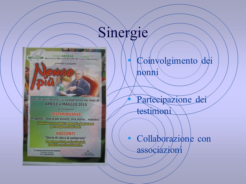 Sinergie Coinvolgimento dei nonni Partecipazione dei testimoni Collaborazione con associazioni