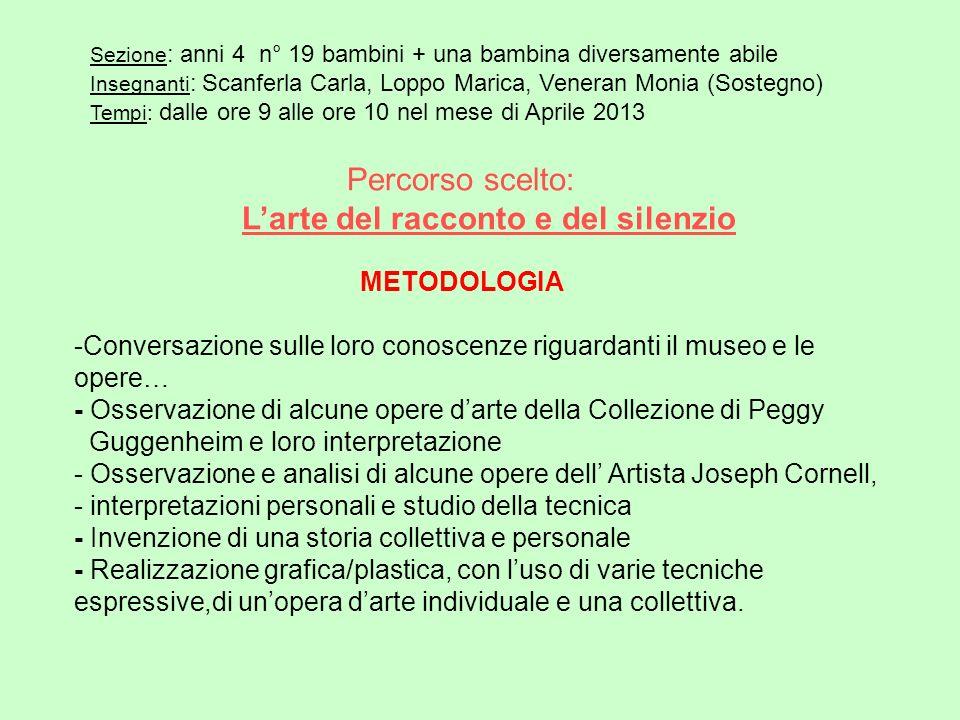Percorso scelto: Larte del racconto e del silenzio METODOLOGIA -Conversazione sulle loro conoscenze riguardanti il museo e le opere… - Osservazione di