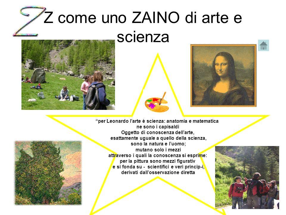 Z come uno ZAINO di arte e scienza per Leonardo larte è scienza: anatomia e matematica ne sono i capisaldi Oggetto di conoscenza dellarte, esattamente uguale a quello della scienza, sono la natura e luomo; mutano solo i mezzi attraverso i quali la conoscenza si esprime: per la pittura sono mezzi figurativ e si fonda su - scientifici e veri princip-i, derivati dallosservazione diretta