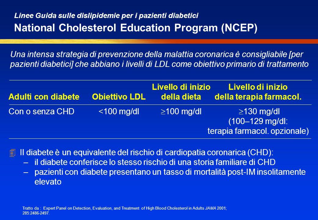 Linee Guida sulle dislipidemie per i pazienti diabetici National Cholesterol Education Program (NCEP) 4Il diabete è un equivalente del rischio di card