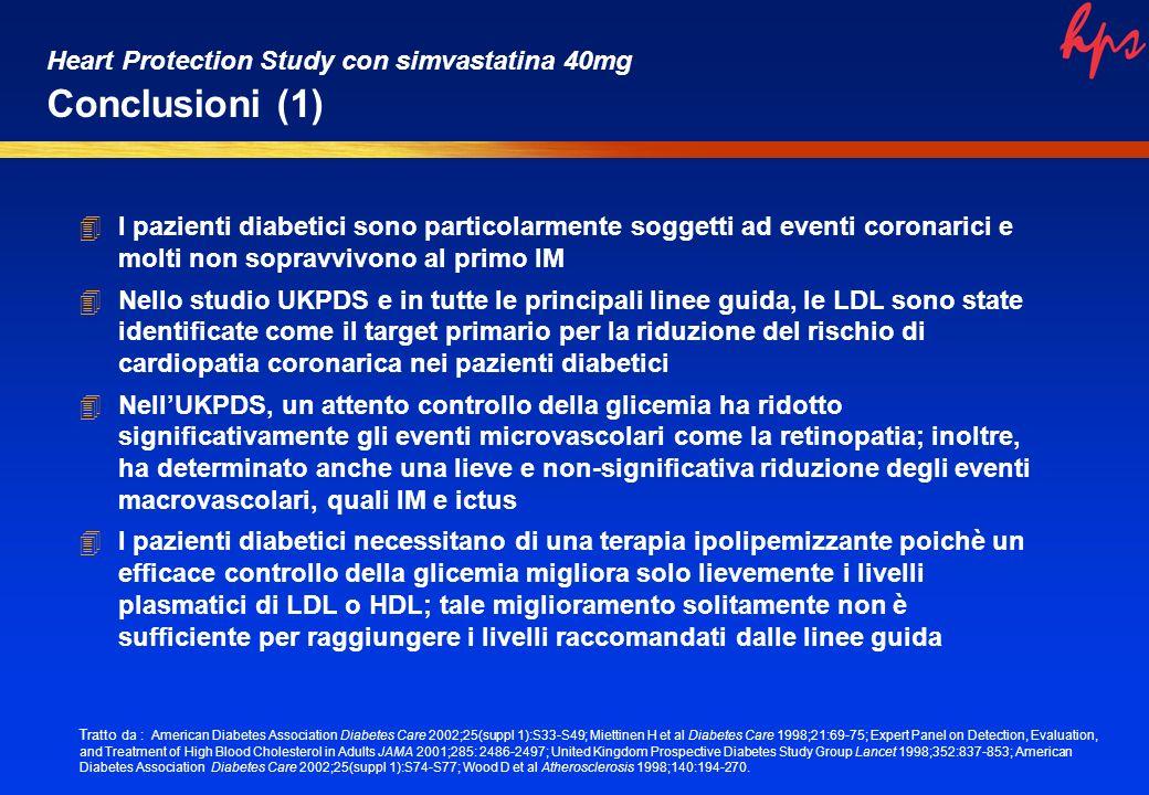 4I pazienti diabetici sono particolarmente soggetti ad eventi coronarici e molti non sopravvivono al primo IM 4Nello studio UKPDS e in tutte le princi