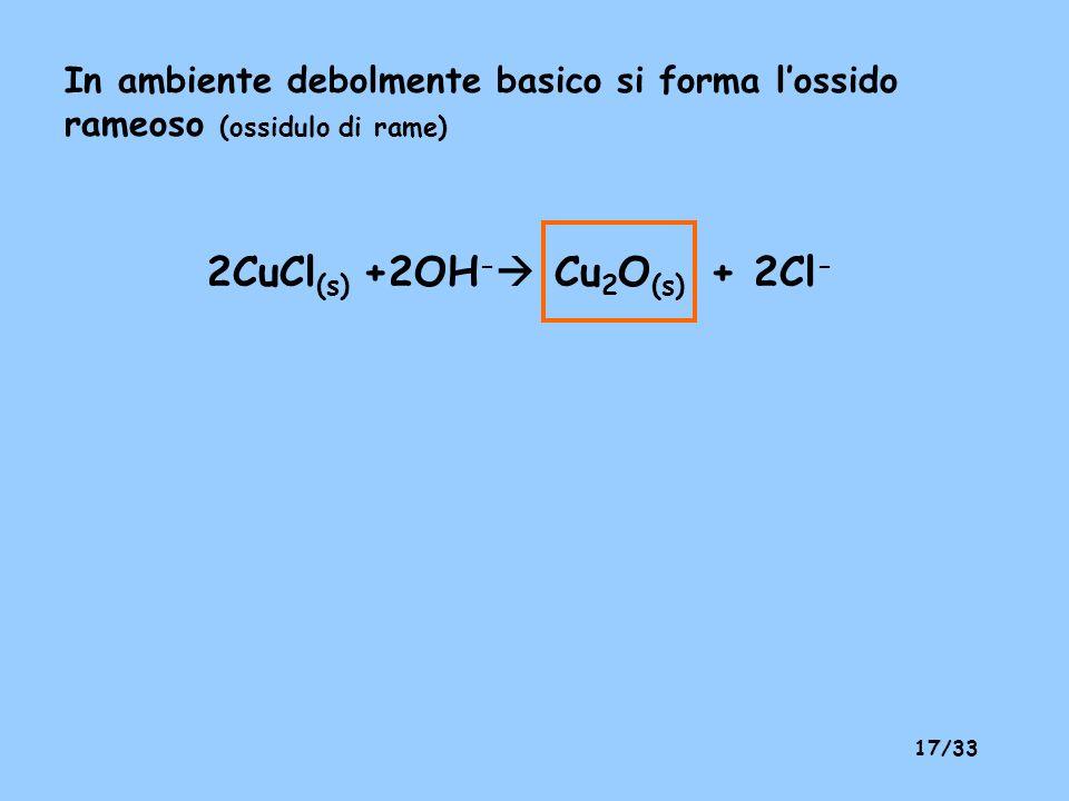 16/33 B – si riduce il rame(II) a rame metallico Cu 2+ + Zn (s) Zn 2+ + Cu (s) A+B –> comproporzionamento in presenza di un eccesso di ione cloruro Cu