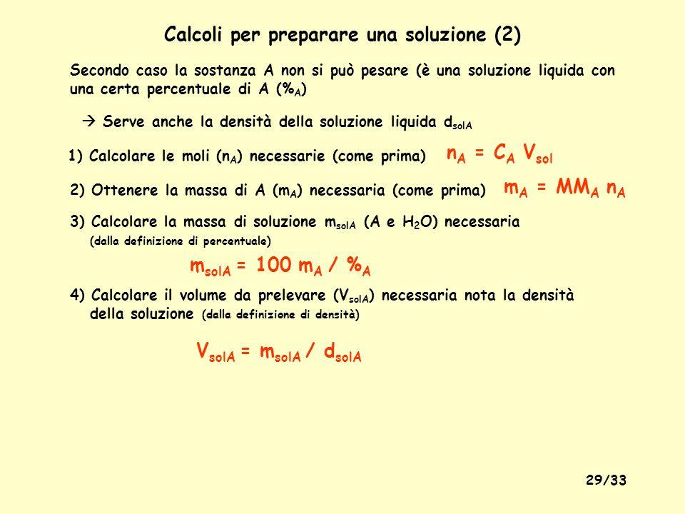 28/33 Preparazione di una soluzione - Calcoli - Necessari volume (V) della soluzione da preparare, concentrazione molare (C A ) e massa molare (MM A )