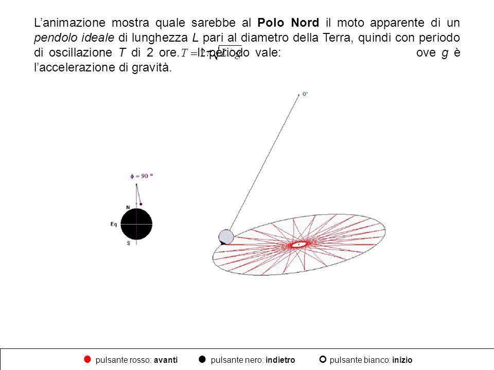 Lanimazione mostra quale sarebbe al Polo Nord il moto apparente di un pendolo ideale di lunghezza L pari al diametro della Terra, quindi con periodo d