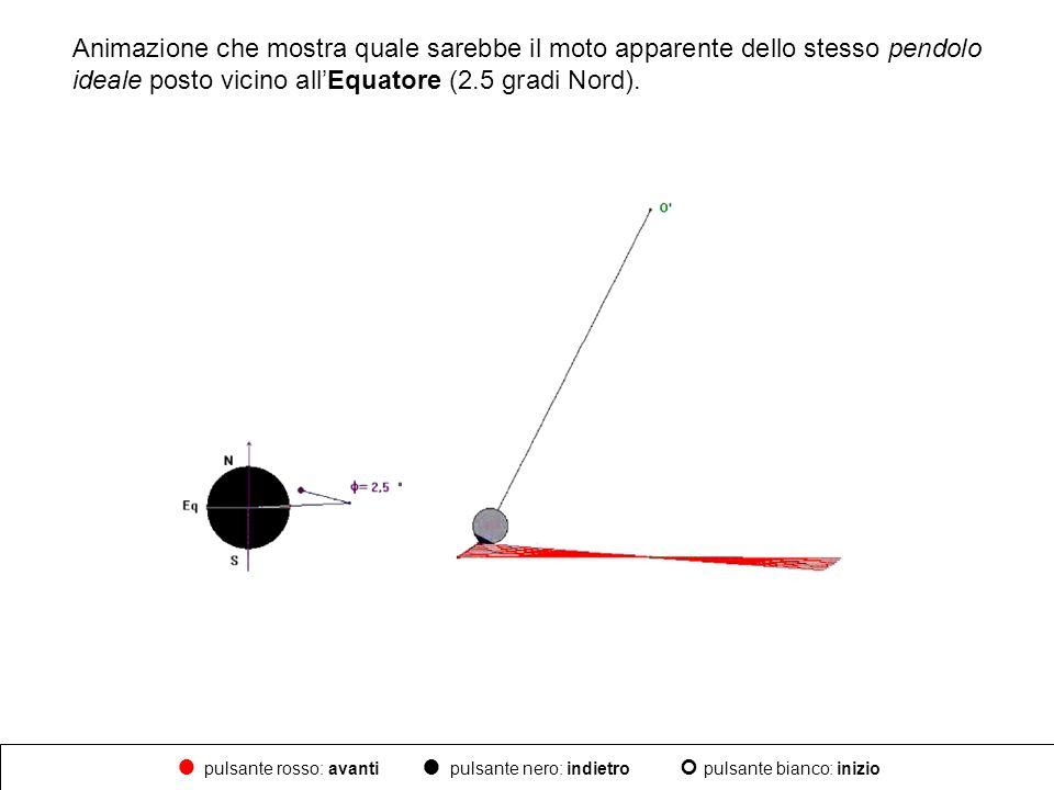Animazione che mostra quale sarebbe il moto apparente dello stesso pendolo ideale posto vicino allEquatore (2.5 gradi Nord). pulsante rosso: avanti pu