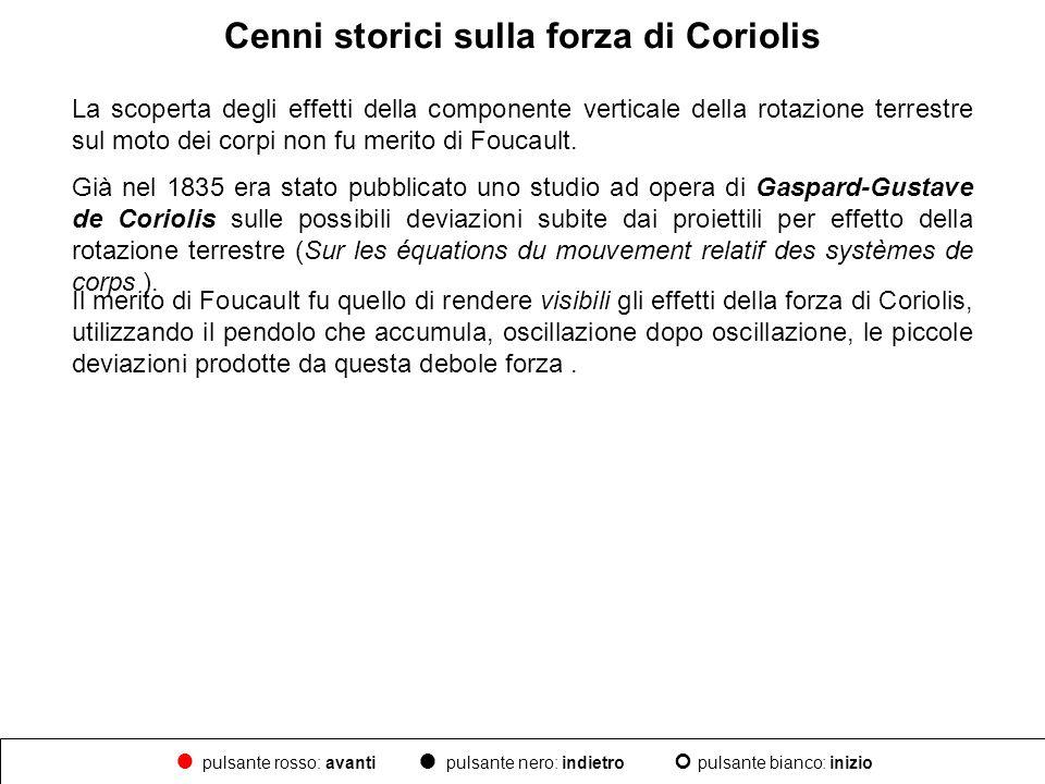 Il merito di Foucault fu quello di rendere visibili gli effetti della forza di Coriolis, utilizzando il pendolo che accumula, oscillazione dopo oscill