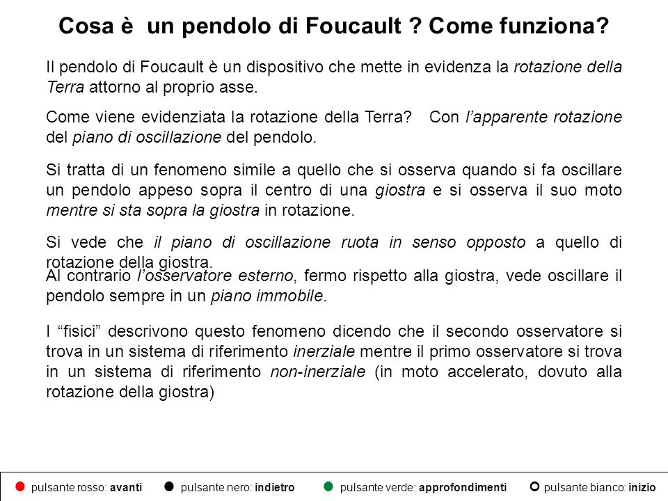 Il pendolo di Foucault è un dispositivo che mette in evidenza la rotazione della Terra attorno al proprio asse. Come viene evidenziata la rotazione de