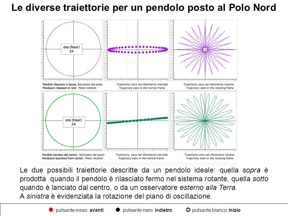 Le diverse traiettorie per un pendolo posto al Polo Nord Le due possibili traiettorie descritte da un pendolo ideale: quella sopra è prodotta quando i