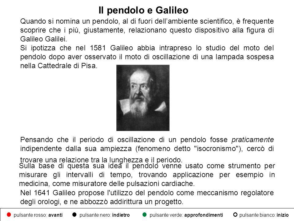 Il pendolo e Galileo Nel 1641 Galileo propose l'utilizzo del pendolo come meccanismo regolatore degli orologi, e ne abbozzò addirittura un progetto. P