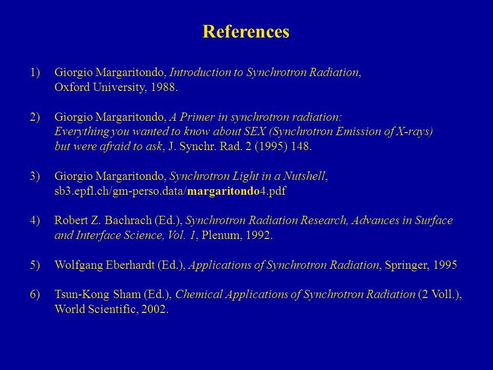 References 1)Giorgio Margaritondo, Introduction to Synchrotron Radiation, Oxford University, 1988.