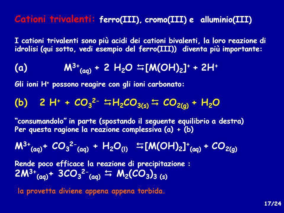 17/24 Cationi trivalenti: ferro(III), cromo(III) e alluminio(III) I cationi trivalenti sono più acidi dei cationi bivalenti, la loro reazione di idrolisi (qui sotto, vedi esempio del ferro(III)) diventa più importante: (a) M 3+ (aq) + 2 H 2 O [M(OH) 2 ] + + 2H + Gli ioni H + possono reagire con gli ioni carbonato: (b) 2 H + + CO 3 2- H 2 CO 3(s) CO 2(g) + H 2 O consumandolo in parte (spostando il seguente equilibrio a destra) Per questa ragione la reazione complessiva (a) + (b) M 3+ (aq) + CO 3 2- (aq) + H 2 O (l) [M(OH) 2 ] + (aq) + CO 2(g) Rende poco efficace la reazione di precipitazione : 2M 3+ (aq) + 3CO 3 2- (aq) M 2 (CO 3 ) 3 (s) la provetta diviene appena appena torbida.